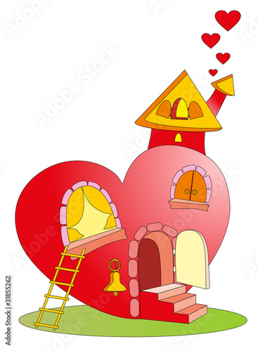 Vector illustration. Heart castle