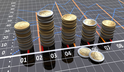 Financial bar graph with coins