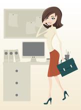 Grafika wektorowa kobiety biznesu w biurze