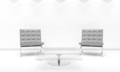 Interno con sedie su sfondo bianco