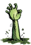 Cartoon of a green zombie hand