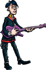 Cartoon emo rocksinger with guitar