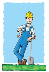 Cartoon worker with a spade