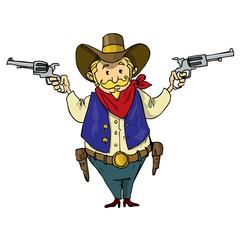 Cartoon cowboy with six-guns