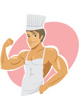 Naked muscular cook wearing apron poster
