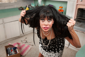 Woman Pulls Her Hair