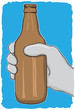 Glass bottle - garbage for recycling - vector