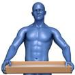 Männliche Figur, präsentieren servieren blau glanz
