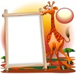 Giraffa Cartoon con Pannello-Giraffe Savannah  Background-Vector