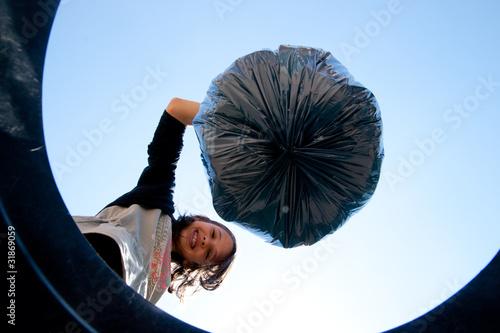 Leinwandbild Motiv jeter la poubelle