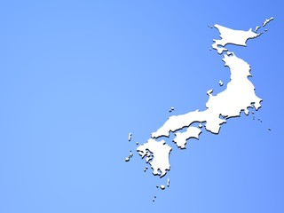 Japanese islands on blue
