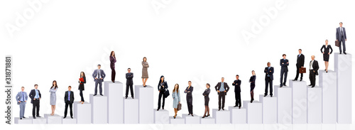 Business people team and diagram. Isolated over white
