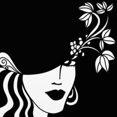 viso di donna in bianco e nero