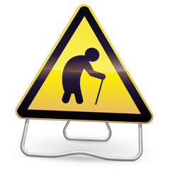 Panneau de danger jaune vieillissement (trépied)