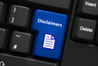 DISCLAIMERS Key (legal information terms and conditions button)