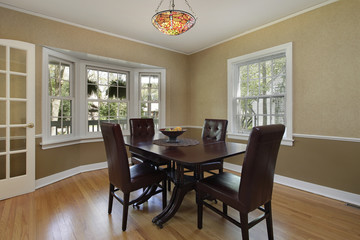 Dining room with french door