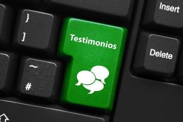 """Tecla Verde """"TESTIMONIOS"""" (opinión satisfacción clientes botón)"""