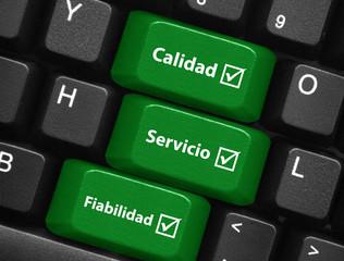 Teclas CALIDAD SERVICIO FIABILIDAD (satisfacción clientes botón)