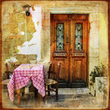 old greek streets with small tavernas