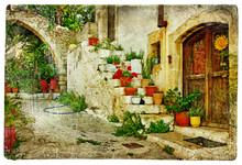 Obrazkami wioski greckie (Lutra) - grafika w stylu retro