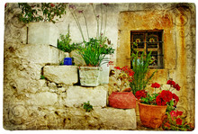 Stare wioski Grecji - artystycznym stylu retro