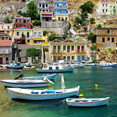 traditional Greece - Symi island, bay with boats