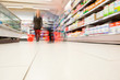 Blurred view of people in supermarket