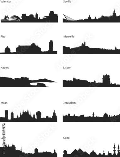 Wektorowe sylwetki miast europejskich i śródziemnomorskich