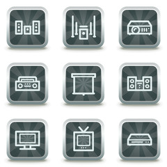 Audio video edit  web icons, grey square buttons