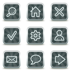 Basic web icons, grey square buttons