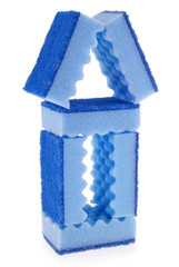 House made of blue sponges
