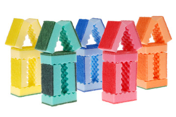 House made of cleaning sponges
