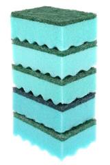 Five green sponges