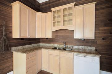 wood kitchen interior cabinets