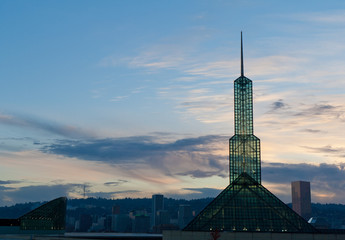 Portland Concention center glass tower at sunset