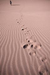donna in cammino sulle dune  nel deserto di atacama in cile