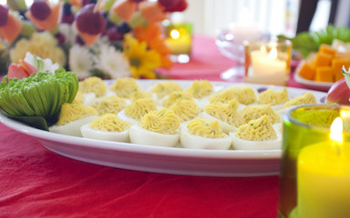 platter with deviled eggs