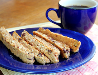 Homemade whole wheat biscotti with chocolate chips