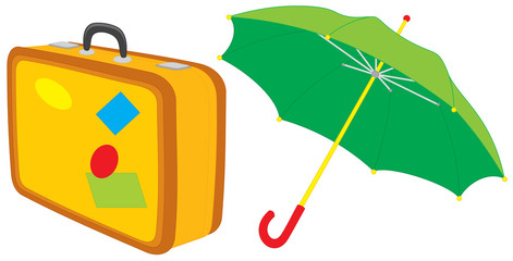 Suitcase and umbrella