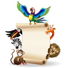 Animali Selvaggi Cartoon Sfondo-Wild Animals Background-Vector