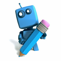 Blue Robot with pencil