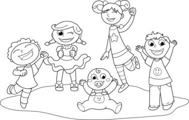 Bambini felici che esultano