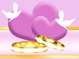 Wedding Rings on the background of hearts
