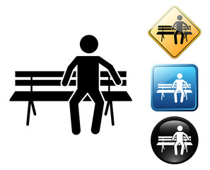 Man sitting pictogram and signs