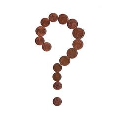 Punto interrogativo di monete (centesimi di euro)