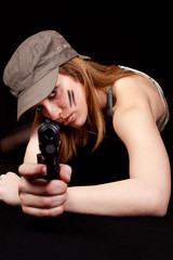 woman solder with gun