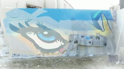 Graffiti décoration mur pop art vidéo