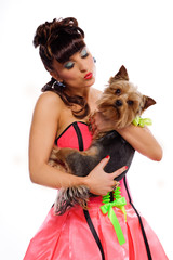 Pin up girl with dog