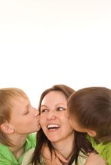 happy mom and children