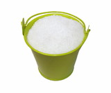 Sugar and green bucket isolated on white background